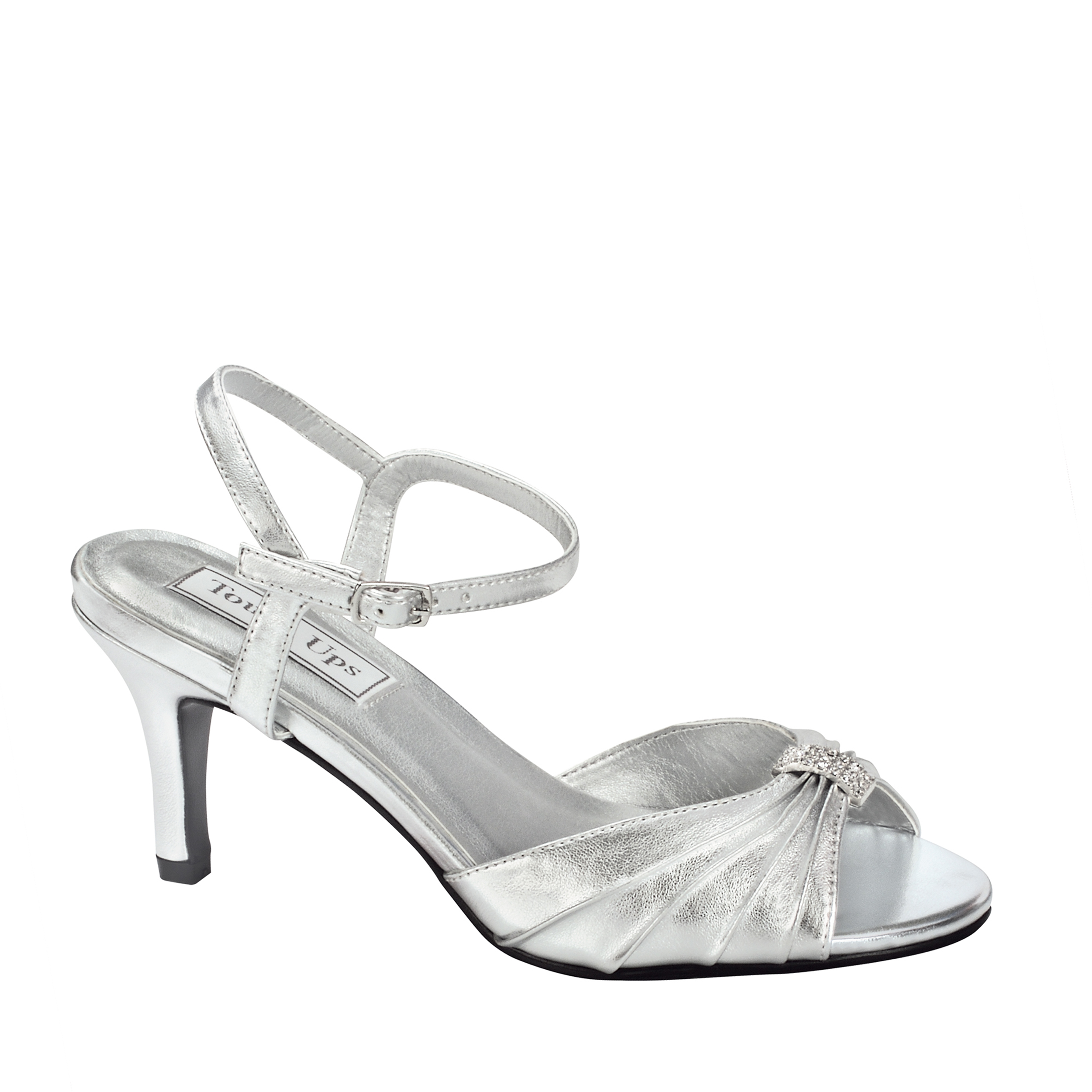 Touch Ups Womens Asher Ankle Wrap Sandal,Silver,8 M US