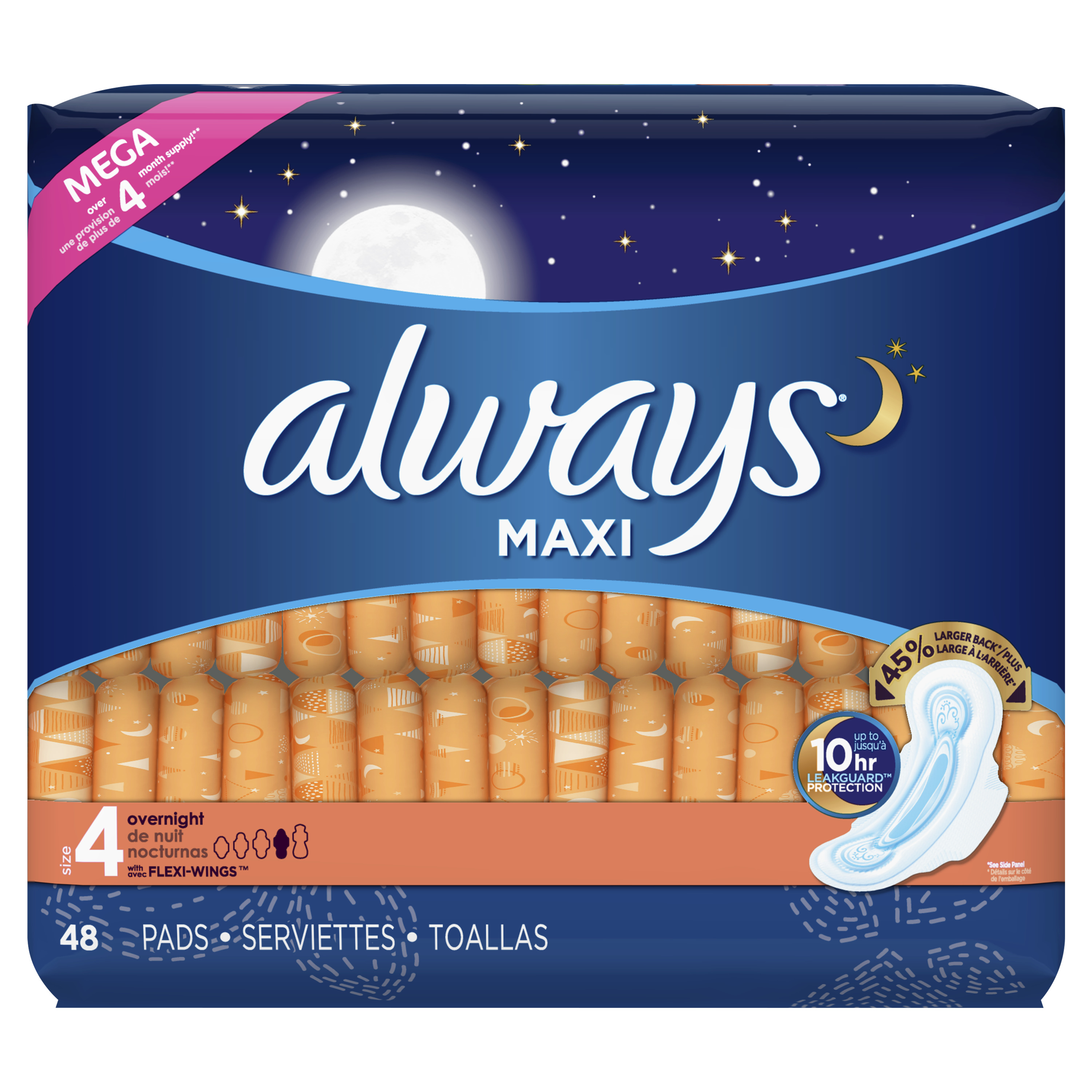 Always Maxi, Size 4, Overnight Pads With Wings, Unscented (Choose Count)