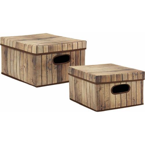 Household Essentials Nested 2-Piece Box Set, Barn Wood