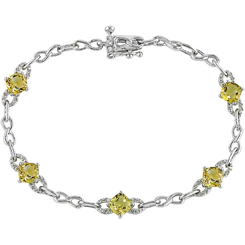 2-1/2 Carat T.G.W. Citrine and Diamond-Accent Bracelet in Sterling Silver, 7""