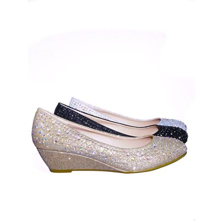 Peep Toe Satin Pumps (Fisher2 by Forever Link, Rhinestone Crystal Low Wedge Pump - Women Peep Toe Shinny Diamond Shoe)