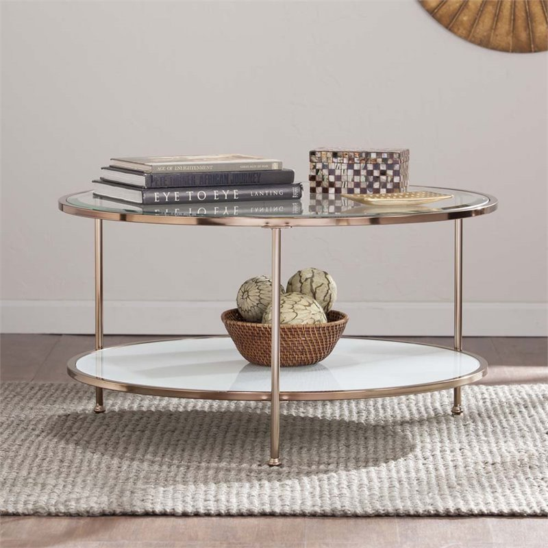 Southern Enterprises Risa Round Glass Top Coffee Table in Gold