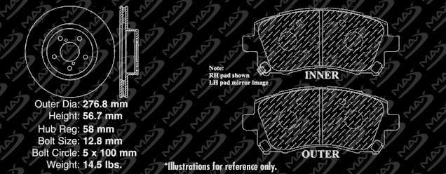 99 00 01 Fits Subaru Impreza 2.5L RS Max Performance Metallic Brake Pads F+R