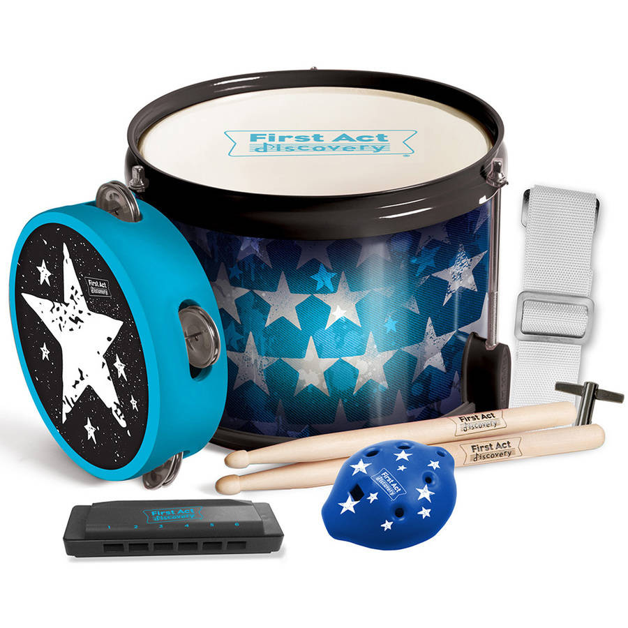 Blue Stars Fun In A Drum Drum, Drum Sticks, Harmonica, Tambourine by First Act