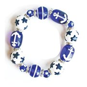 Sailor Blue Anchors Away Rhinestone Glass Beaded Kate and Macy Stretch Bracelet