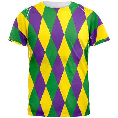 6e1c7f09515316 Old Glory - Mardi Gras Jester Costume All Over Adult T-Shirt - Walmart.com
