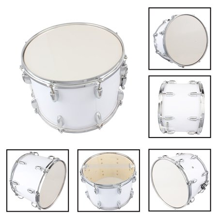 GLiving 14 X10 Inches Student Marching Snare Drum Kids Percussion Kit White with Drumsticks Strap White