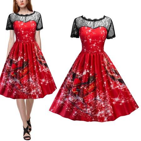Mosunx Women Swing Dress Christmas Print Lace Yoke Short Sleeve Evening Party Dress