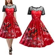 1d7078c86fed1 Mosunx Women Swing Dress Christmas Print Lace Yoke Short Sleeve Evening Party  Dress