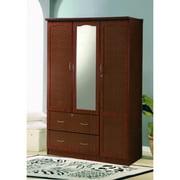 Hodedah Imports 2 Drawer 3 Door Wardrobe with Center Mirror