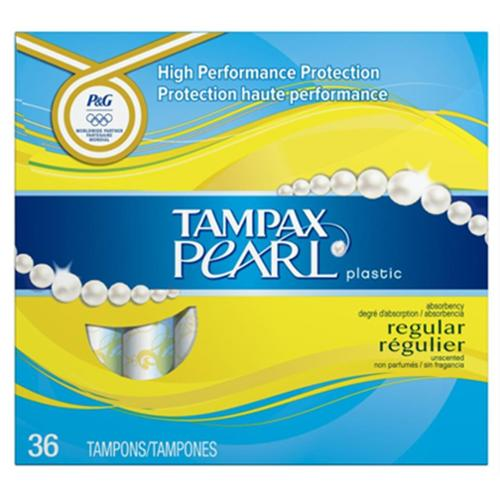 Tampax Pearl Plastic Regular Absorbency Tampons, Unscented 36 ea (Pack of 6)