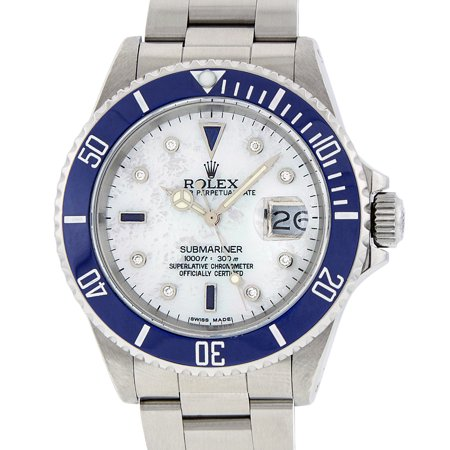 Pre-Owned Rolex Mens Submariner Stainless Steel Oyster Perpetual Mother of Pearl Diamond & Sapphire Watch with Blue Ceramic Insert
