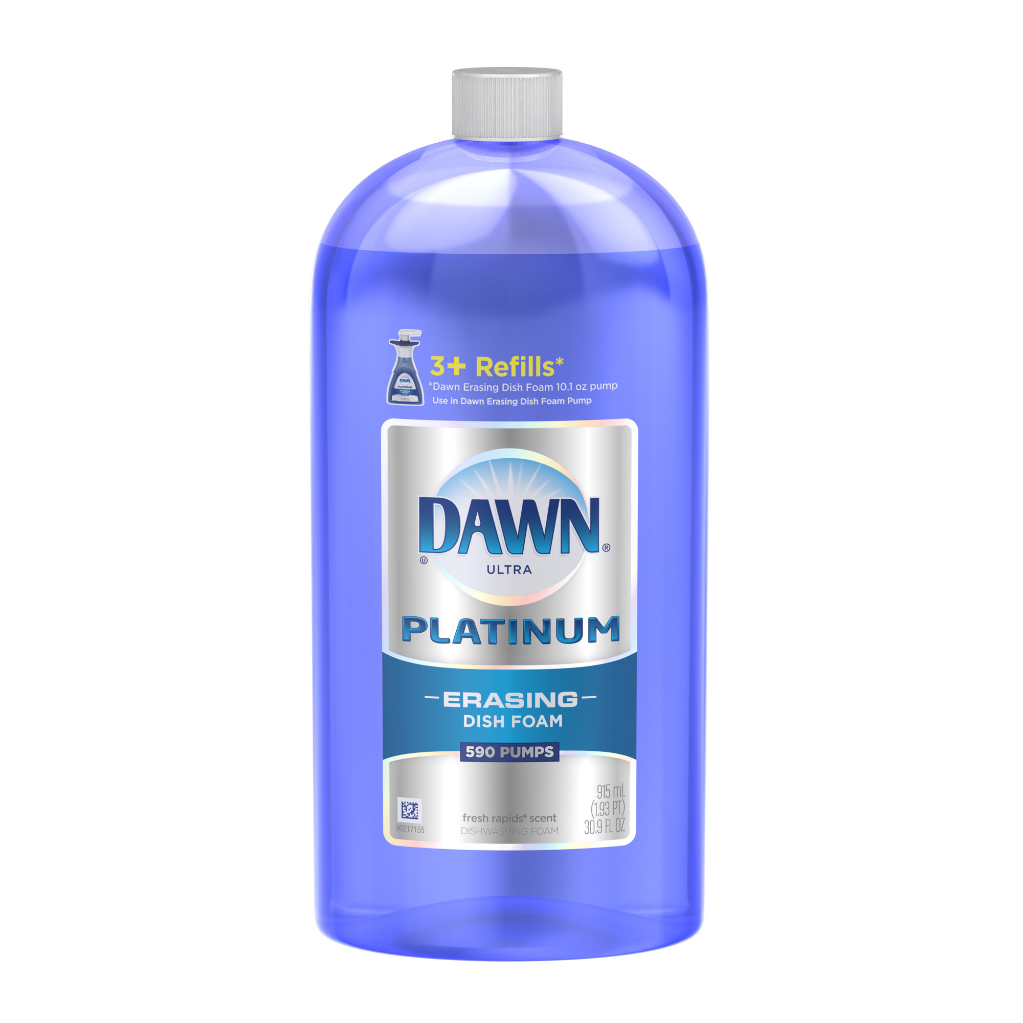 Dawn Platinum Erasing Dishwashing Foam Refill, Fresh Rapids, 30.9 Fl Oz