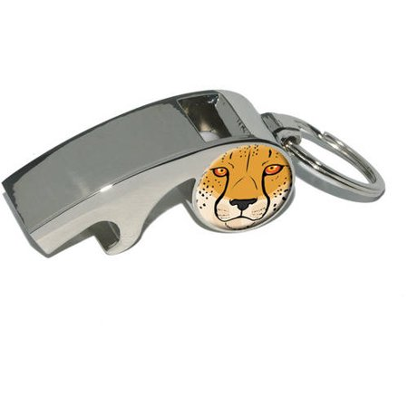 Cheetah Face, Safari Big Cat, Plated Metal Whistle Bottle Opener Keychain Key Ring