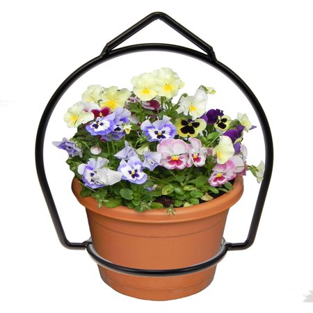 Brinkman Wrought Iron Flower Flower Pot Plant Hanger Ring Votive Holder Outdoor Hanging Basket, Simple design allows for easy installation By Brinkmann