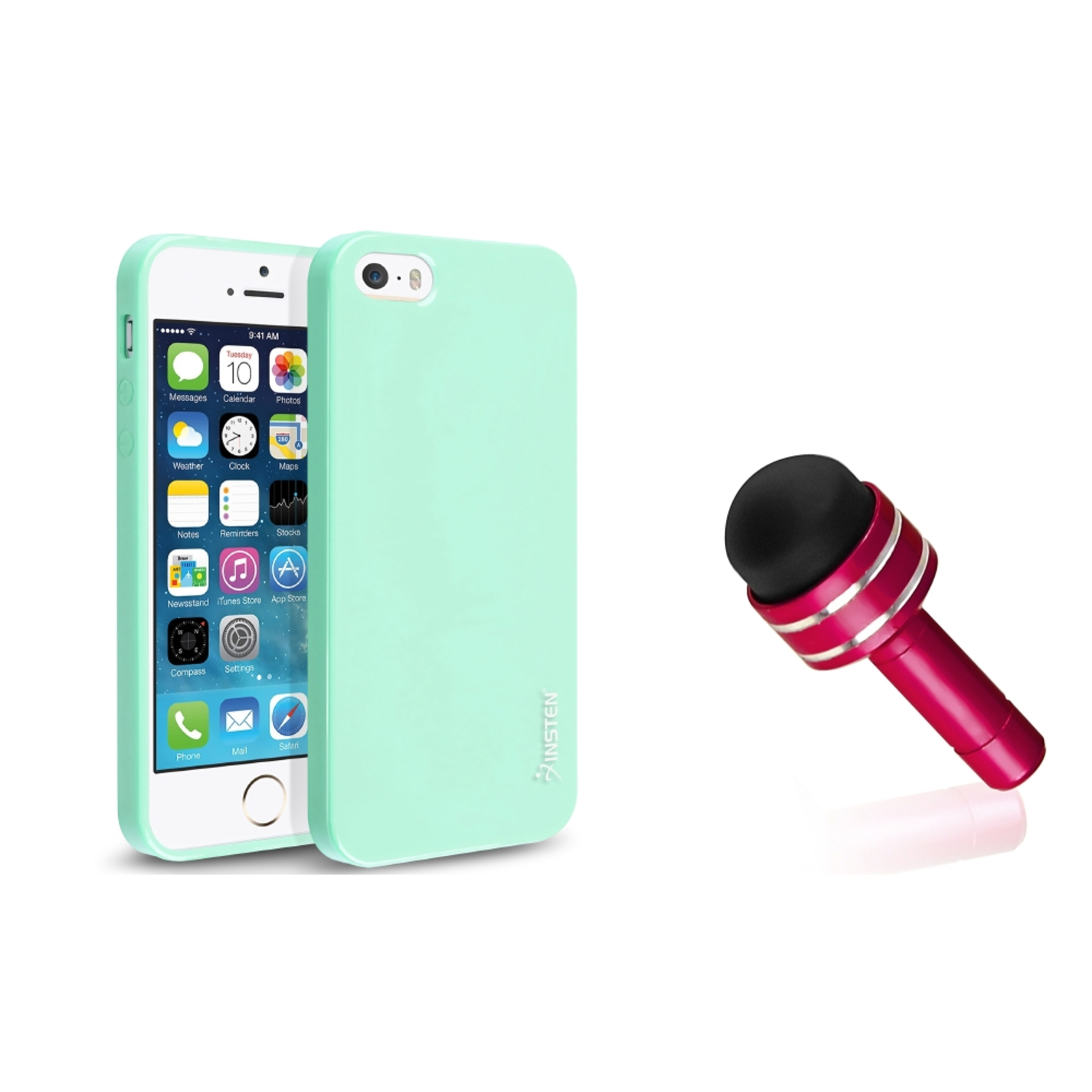 Insten For iPhone 5S 5 Pudding Mint Green TPU Gel Jelly Case+Red Jack Stylus