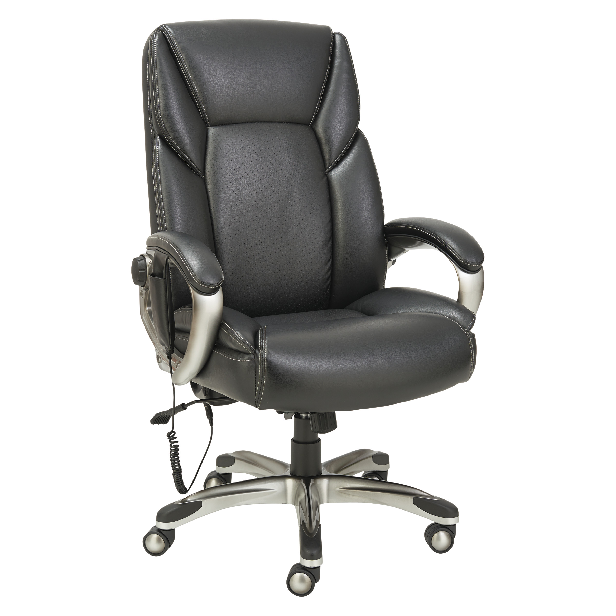 Alera Shiatsu Massage Chair, Black, Silver Base