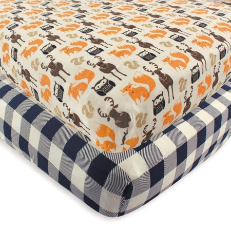 Hudson Baby Boy and Girl Fitted Crib Sheet, 2-Pack - Forest ()