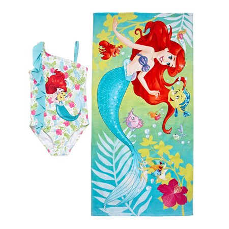 Ariel The Little Mermaid Little Girls' Swimsuit & Beach Towel Bundle Set Free Shipping](Little Mermaid Towel)