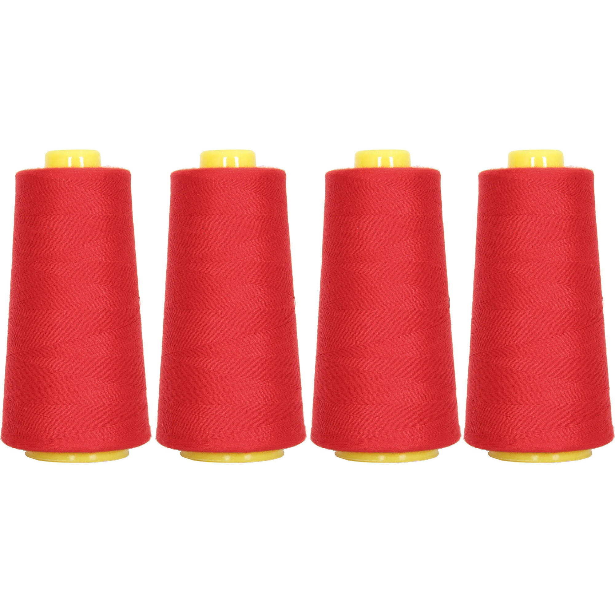 4 Cones Red Serger Sewing Thread, 2750 Yd Cones, TEX 27 40S/2, Threadart