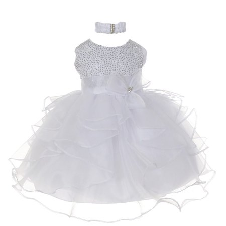 Little Girls White Organza Rhine studs Bow Sash Flower Girl Dress 4T