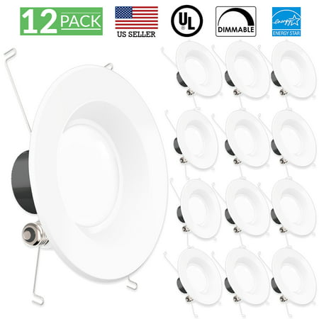 - Sunco Lighting 12 Pack 5 / 6 Inch Smooth Recessed Retrofit Kit LED Light Fixture, 13W (75W Replacement), 3000K Kelvin Warm White, 830 Lumen, Dimmable, Quick/Easy Can Install, Wet Area