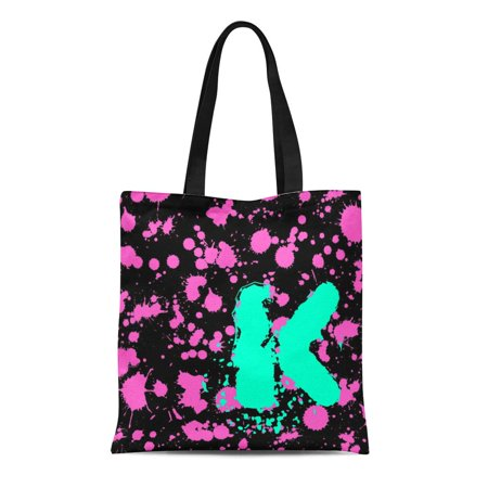 ASHLEIGH Canvas Tote Bag Monogrammed Graffiti Black and Fuschia 90S Splatter Paint Street Reusable Handbag Shoulder Grocery Shopping Bags