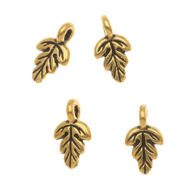 "22K Gold Plated Pewter Tiny ""Oak Leaf"" Charm 10.5mm (4)"