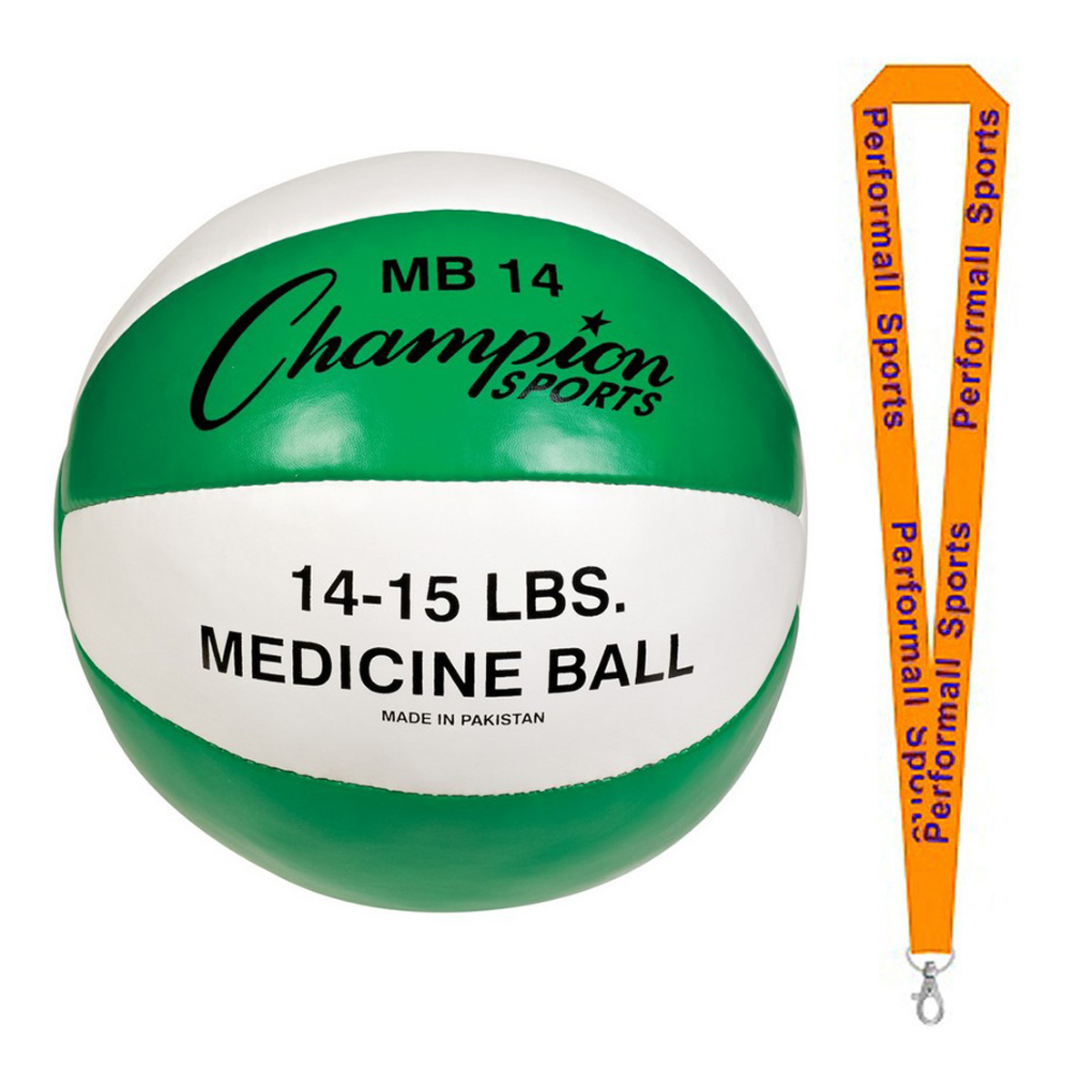 Champion Sports Bundle: Leather Medicine Balls Assorted Colors and Sizes with 1 Performall Lanyard