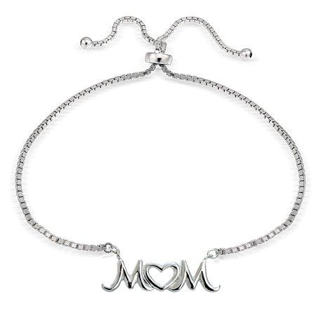 Sterling Silver MOM Open Heart Polished Adjustable Bracelet