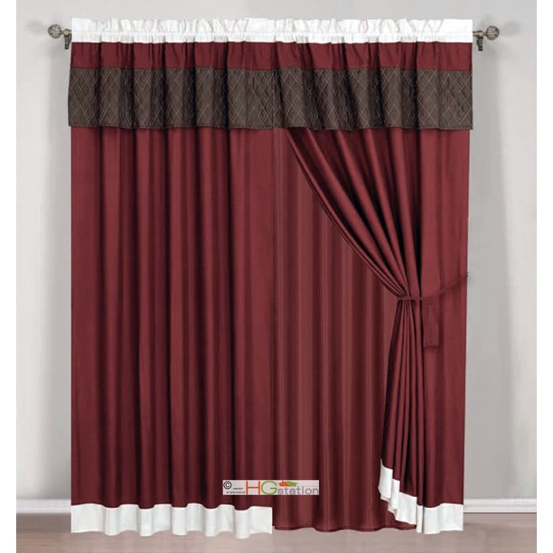 4-Pc Quilted Diamond Striped Curtain Set Burgundy Brown