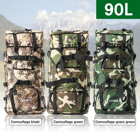 90L Outdoor Large Tactical Military Hiking Backpack Sport Trekking Mountaineering Camping Hunting Fishing Tactic Rucksack Travel Waterproof Shoulder Army Bag