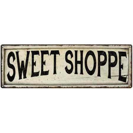 SWEET SHOPPE Farmhouse Style Wood Look Sign Gift 6x18 Metal Decor 206180028279 ()