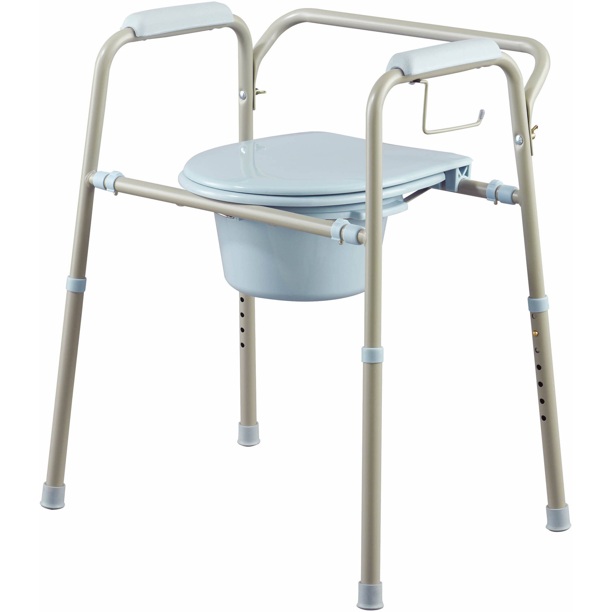 Medline Steel 3-in-1 Bedside Toilet Commode with Microban