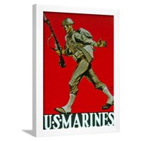 Us Marines World War One Recruitment Poster Framed Print Wall Art