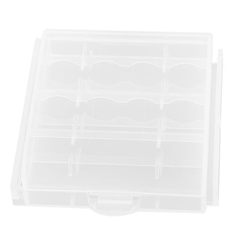 Unique Bargains Hard Plastic Portable Case Holder Storage Box Clear for AA AAA Battery Batteries