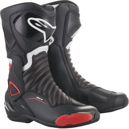 Alpinestars Smx Plus Street Boots (Alpinestars SMX-6 V2 Mens Leather Boots Black/Red/White)