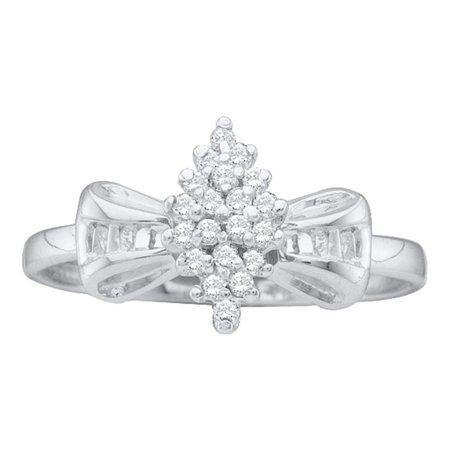 Bowtie Diamond Cocktail Ring Solid 10k White Gold Cluster Band Round & Baguette Polished Fancy 1/10 ctw