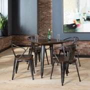 OFM Industrial Modern 4 Assembled Mid Back Dining Chairs, Oversized Seats