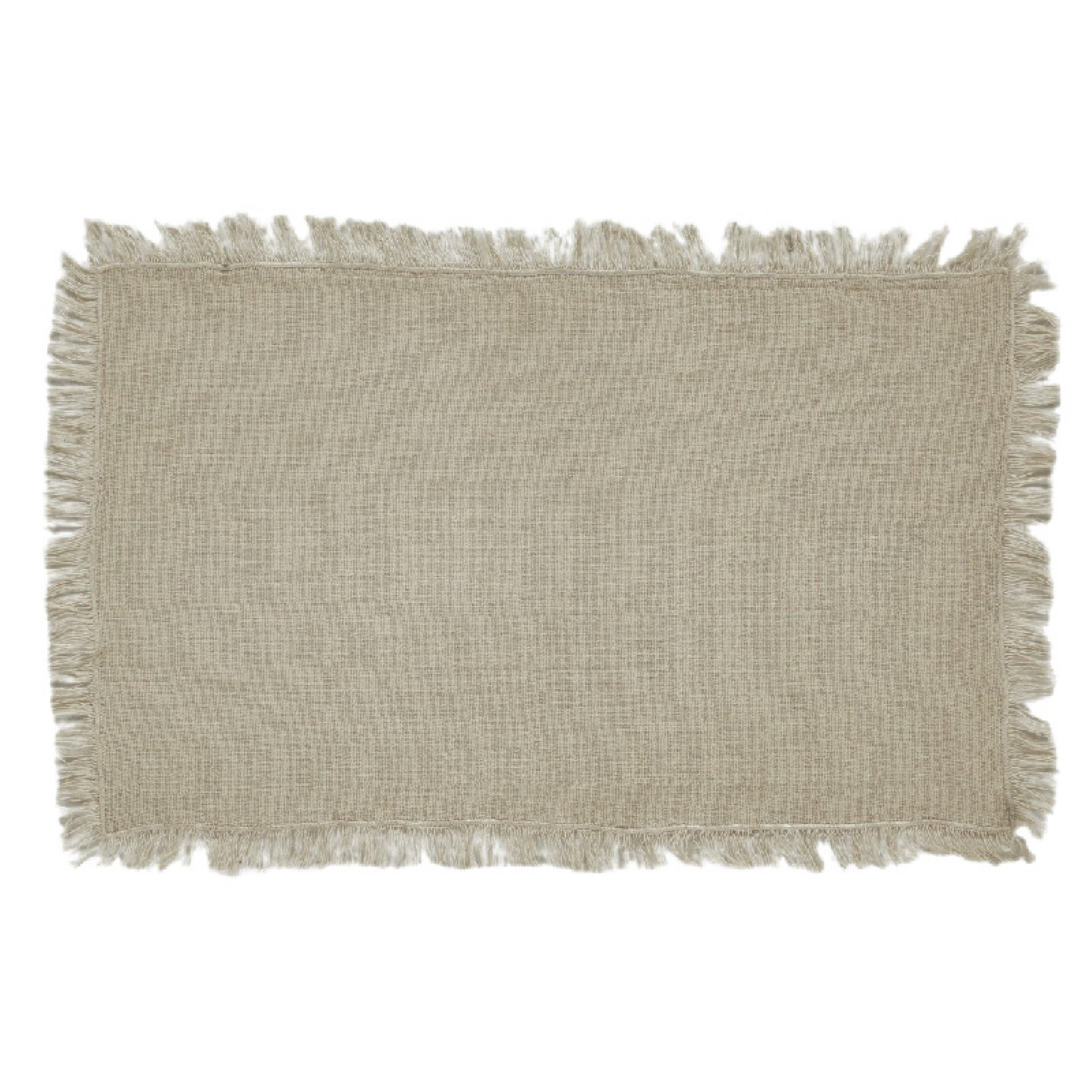 VHC Coastal Farmhouse Tabletop & Kitchen Tobacco Cloth Fringed Placemat Set of 6 by VHC Brands