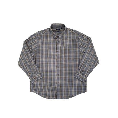 Heritage Plaid Shirt - Mens Gray & Gold Plaid Heritage Twill Button-Front Shirt  - Size - XX-Large
