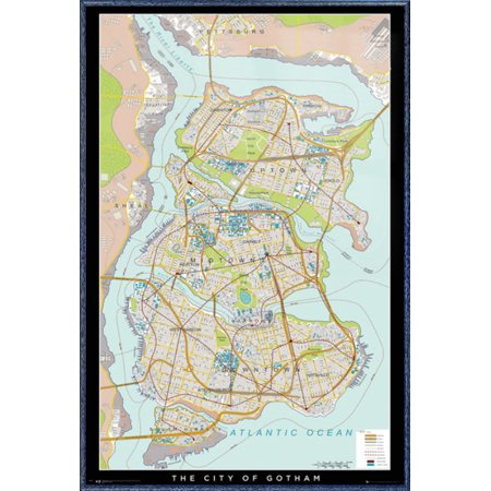 Batman - Framed DC Comics Poster / Print (Gotham City Map) (Size: 24\