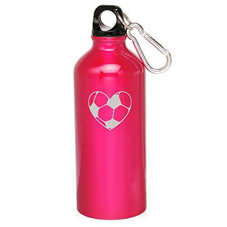 20oz Aluminum Sports Water Bottle Caribiner Clip Heart Soccer Ball (Hot Pink) (Water Bottle Soccer)