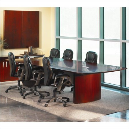 Mayline Napoli Curved End Conference Table in Sierra Cherry-14'