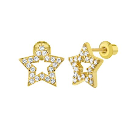 18k Gold Plated Pave Clear CZ Open Star Screw Back Earrings for Girls