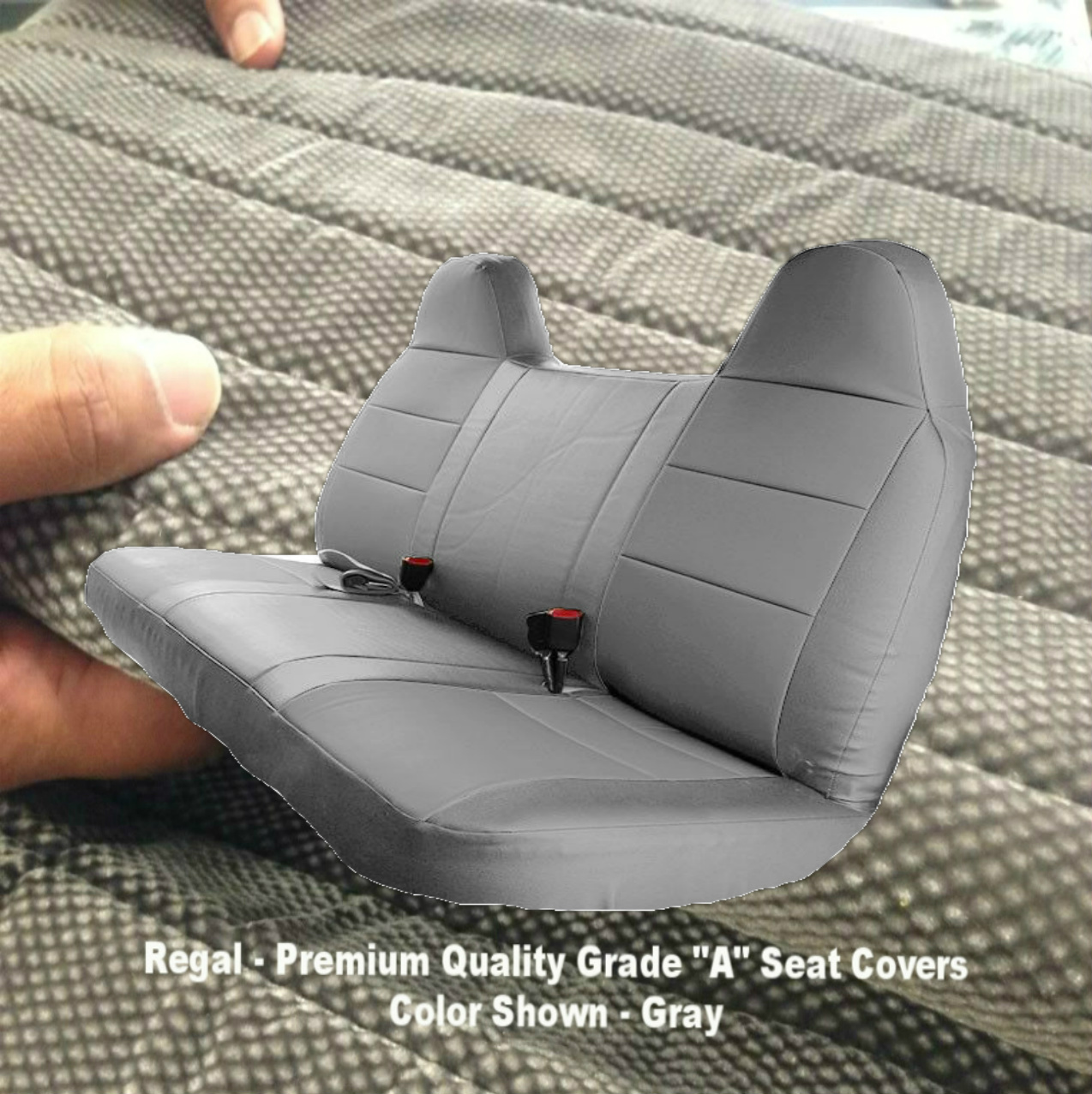 F23 Ford F150 F250 F350 F450 F550 Year 1992 - 2010 Full Size Bench Seat Cover Molded Headrest Fitted Gray Grey