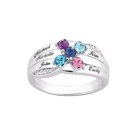 Family Jewelry Personalized Mother's Sterling Silver or 18K Gold over Silver Birthstone Diamond Accent Name Ring for $<!---->
