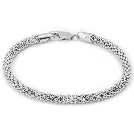 Italian Sterling Silver Popcorn Chain Bracelet, - Rubber Bicycle Chain Bracelet