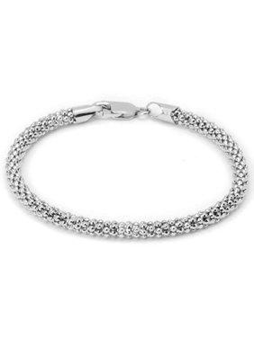 Italian Sterling Silver Popcorn Chain Bracelet, 7.5