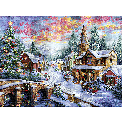 Gold Collection Holiday Village Counted Cross Stitch Kit